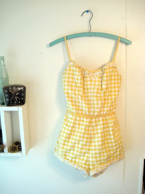 1950s Turquoise Cotton Bathing Suit or Play Suit $62