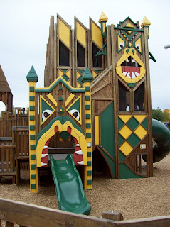 The slides at Dragon Hollow, painted like giant dragons