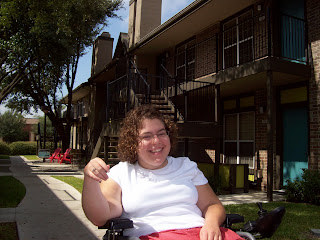 Sarah at her housing complex
