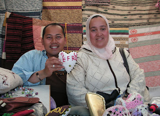 Nam LaMore with artisan Amina at a Zagora craft-fair, 2007