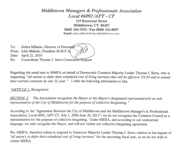 middletowneye Union Spurns Dem Councilmans Suggestion of – How to Write a Salary Increase Proposal