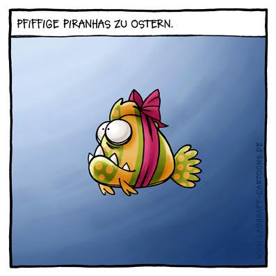 Pfiffige Piranhas zu Ostern Tricks Ideen Ostereier suchen verstecken Geschenk Schleife Falle stellen Cartoon Cartoons Witze witzig witzige lustige Bildwitze Bilderwitze Comic Zeichnungen lustig Karikatur Karikaturen Illustrationen Michael Mantel lachhaft Spaß Humor