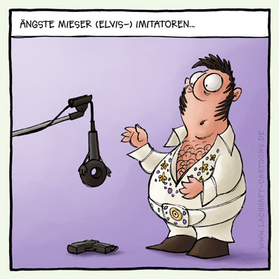 Elvis Presley King schlechter Imitator miese Imitation Darbietung imitieren Karaoke Selbstmord Mikrofon erschossen Cartoon Cartoons Witze witzig witzige lustige Bilder Bilderwitz Bilderwitze Comic Zeichnungen lustig Karikatur Karikaturen Illustrationen Michael Mantel lachhaft Spaß Humor Witz