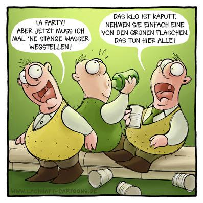 Klowitz Klo pinkeln pissen Party Männer Geburtstag Silvester Neujahr Bierflasche trinken feier feiern Stange Wasser wegstellen Flasche Aprilscherz Cartoon Cartoons Witze witzig witzige lustige Bildwitze Bilderwitze Comic Zeichnungen lustig Karikatur Karikaturen Illustrationen Michael Mantel lachhaft Spaß Humor