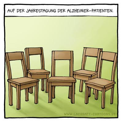 Jahrestagung Alzheimer Patienten leere Stühle Cartoon Cartoons Witze witzig witzige lustige Bildwitze Bilderwitze Comic Zeichnungen lustig Karikatur Karikaturen Illustrationen Michael Mantel lachhaft Spaß Humor