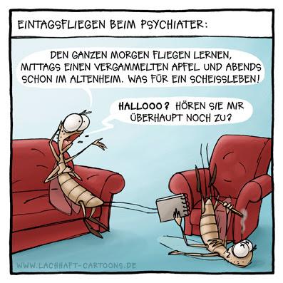 Eintagsfliegen beim Psychiater Psychologe Therapie Sitzung Tod sterben Cartoon Cartoons Witze witzig witzige lustige Bildwitze Bilderwitze Comic Zeichnungen lustig Karikatur Karikaturen Illustrationen Michael Mantel lachhaft Spaß Humor