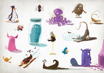 Michael Mantel für die Bilderwumme Illustration Collection of funny animals lustige Tiere icons Piktogramme