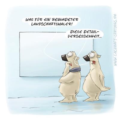 LACHHAFT Cartoon abstrakte Kunst Landschaftsmalerei Landschaftsmaler Bild betrachten Eisbären Eisbär Kritiker Kunstkritik Cartoons Witze witzig witzige lustige Bildwitze Bilderwitze Comic Zeichnungen lustig Karikatur Karikaturen Illustrationen Michael Mantel Spaß Humor