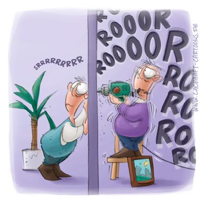 LACHHAFT Cartoon Loch bohren Bohrer Handwerker Heimwerker Bild aufhängen horchen hören vorletzte Geräusche Cartoons Witze witzig witzige lustige Bildwitze Bilderwitze Comic Zeichnungen lustig Karikatur Karikaturen Illustrationen Michael Mantel Spaß schwarzer Humor