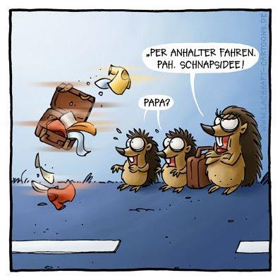 Igel fahren per Anhalter Schnapsidee Autos Verkehr Verkehrsopfer überfahren Gepäck Koffer Tiere Straße Cartoon Cartoons Witze wit