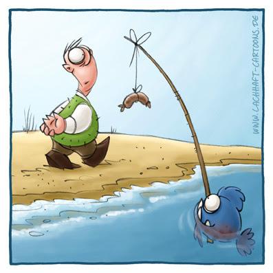 LACHHAFT Cartoon Piranhas angeln Angler hungrige Fische Essen Bratwurst am Strand spazieren gehen Spaziergang  Meer Cartoons Witze witzig witzige lustige Bildwitze Bilderwitze Comic Zeichnungen lustig Karikatur Karikaturen Illustrationen Michael Mantel Spaß Humor