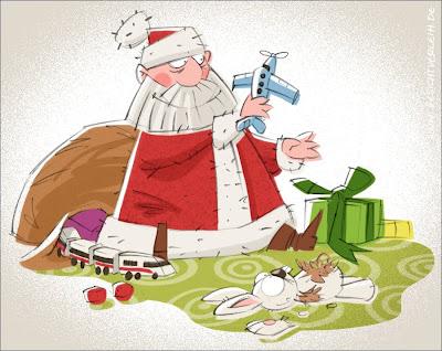 Michael Mantel für die Bilderwumme Illustration Weihnachtsmann Weihnachten Spielzeug Geschenke testen ausprobieren