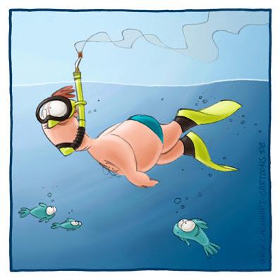 rauchen Raucher Idee erfinderisch abhängig Taucher tauchen schwimmen baden schnorcheln Fische Cartoon Cartoons Witze witzig witzige lustige Bildwitze Bilderwitze Comic Zeichnungen lustig Karikatur Karikaturen Illustrationen Michael Mantel lachhaft Spaß Humor