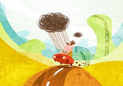 Michael Mantel Illustration Zeichnung Aprilwetter Regen Schauer Cabriolet nass trocken wolke Verfolgungswahn Pechvogel Unglücksrabe