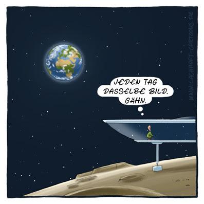 Erde Urlaub auf dem Mond Traumhaus Weltalltourismus neureich Luxus Haus Wohnung Langeweile Aussicht Ausblick Cartoon Cartoons Witze witzig witzige lustige Bildwitze Bilderwitze Comic Zeichnungen lustig Karikatur Karikaturen Illustrationen Michael Mantel lachhaft Spaß Humor