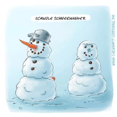 LACHHAFT Cartoon schwule Schneemänner Schneemann schwul homosexuell versaut Winter Karotten Mohrrüben Möhren Schnee Cartoons Witze witzig witzige lustige Bildwitze Bilderwitze Comic Zeichnungen lustig Karikatur Karikaturen Illustrationen Michael Mantel Spaß Humor