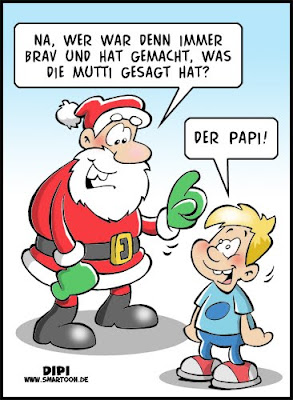 LACHHAFT Adventskalender Cartoon von Dirk Pietrzak DIPI Weihnachtsmann Mutti Papi Vater Mutter Vati Mutti