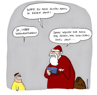 LACHHAFT Adventskalender Cartoon von Comicpiero Piero Mastalerz Weihnachten Wikileaks artig Kontrolle