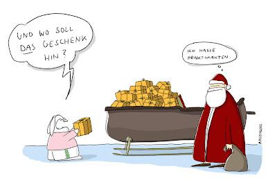 LACHHAFT Adventskalender Cartoon von Comicpiero Piero Mastalerz Weihnachten Schlitten Geschenke Essen Existenz