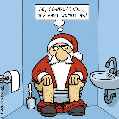LACHHAFT Adventskalender Cartoon von Miguel Fernandez Weihnachtsmann Weihnachten Klowitz Toilettenwitz Klo WC Bart ab genervt