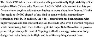blade cx2 coaxial helicopter description images