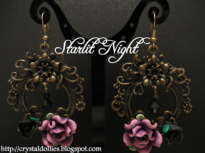StarlitNight171108 - Clay Flower Ear Rings