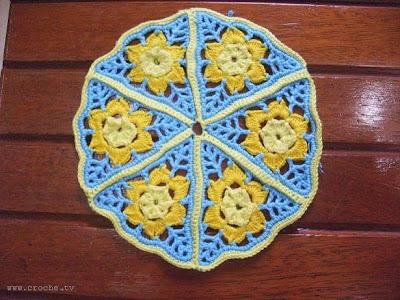 porta pratos de crochet