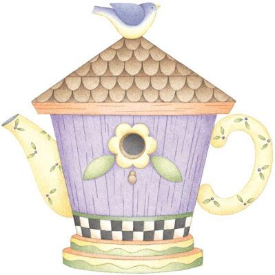casinha de passarinho bule para pintar em tecido
