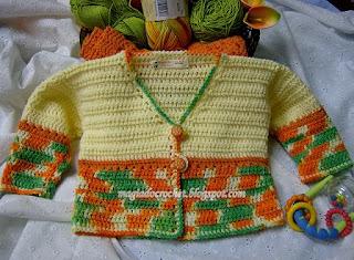 casaquinho para bebê passo a passo da Nélia como fazer a casinha de botão em crochet
