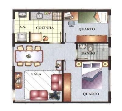 planta de casa popular com 2 quartos