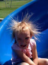 Abby and her crazy hair static on a slide