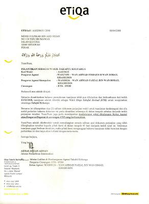 Surat Perlantikan Wakil TAKAFUL