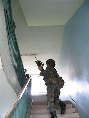 I have never carried a rifle up a set of stairs.