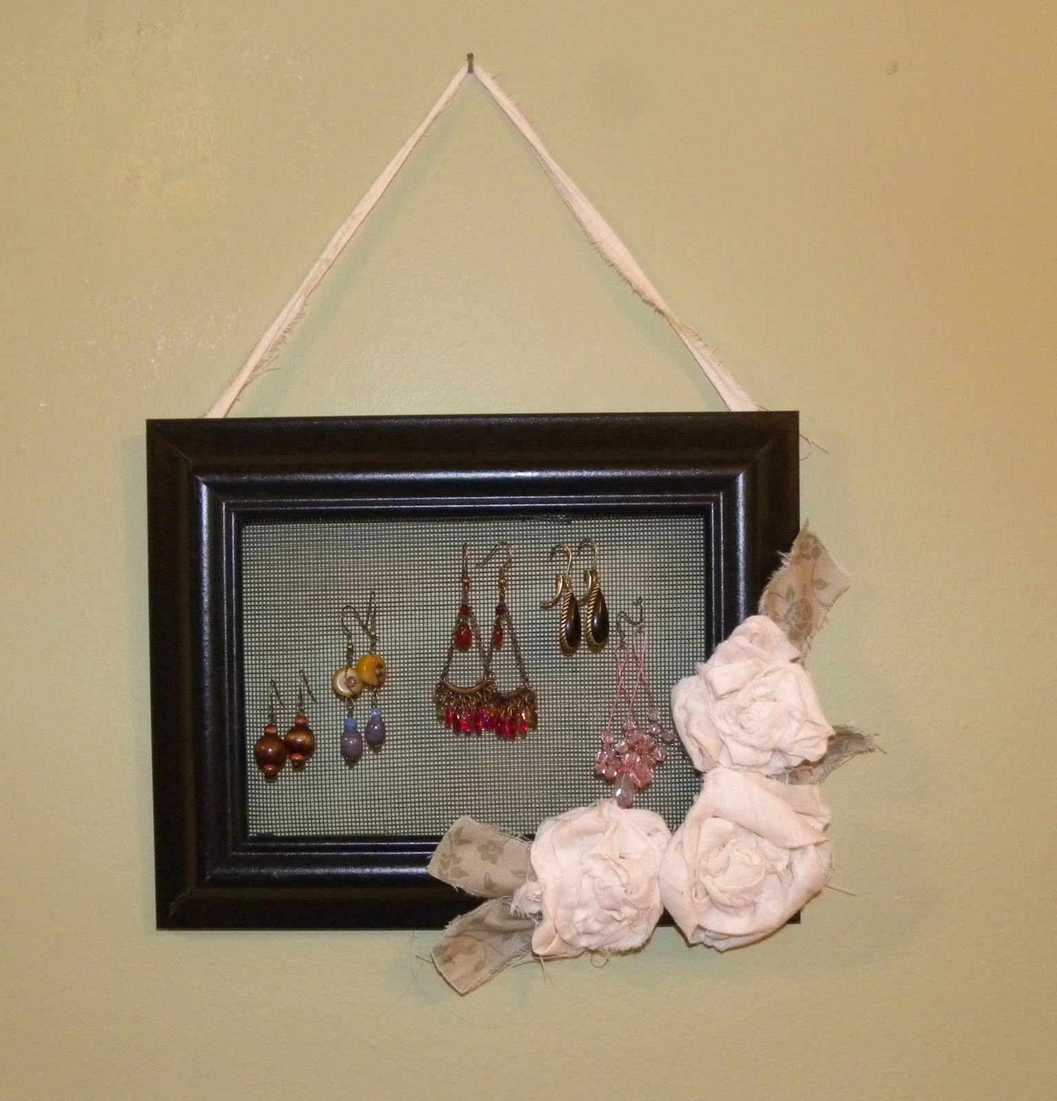 From The Hive: earring holder from a frame