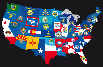 usa map state flags