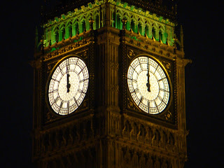 Big Ben strikes midnight to welcome in 2009 in Westminster, London