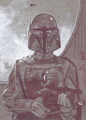 Boba Fett (Pencil study) ACEO Sketch Card by Jeff Lafferty