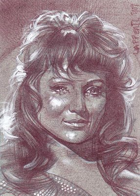 Susan Oliver as Vina (Pencil study) ACEO Sketch Card by Jeff Lafferty