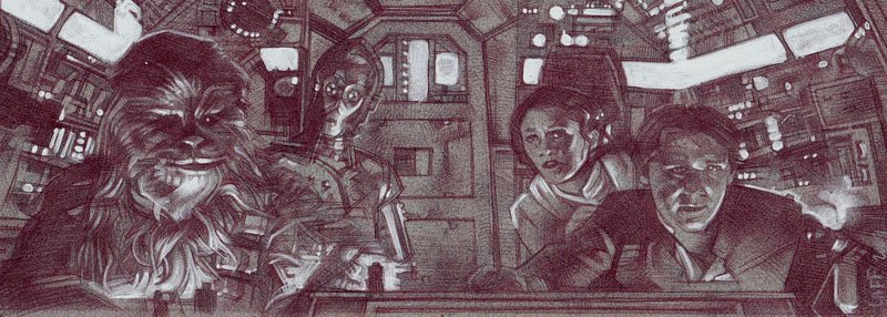 Millennium Falcon (Pencil study) ACEO Sketch Card by Jeff Lafferty