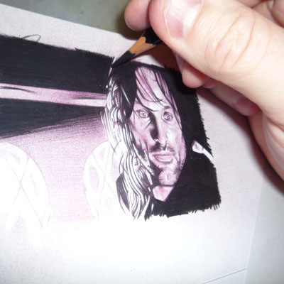 Aragorn in progress 3  ACEO Sketch Card by Jeff Lafferty
