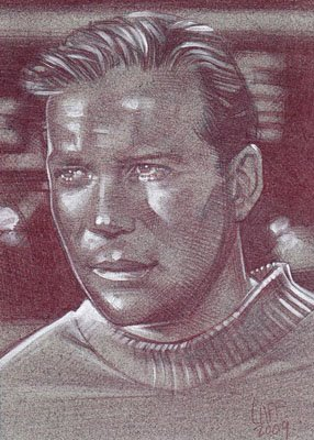 Captain Kirk (Pencil study) ACEO Sketch Card by Jeff Lafferty