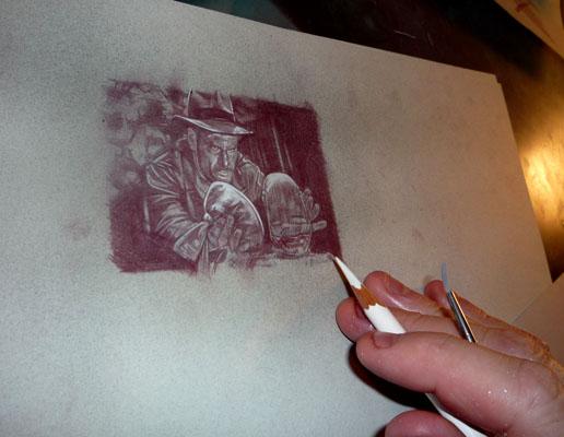 Jeff Lafferty Drawing Indian Jones Art