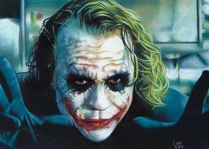 Heath Ledger as the Joker, Original Art by Jeff Lafferty