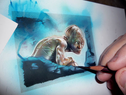 Gollum Painting, original art by Jeff Lafferty