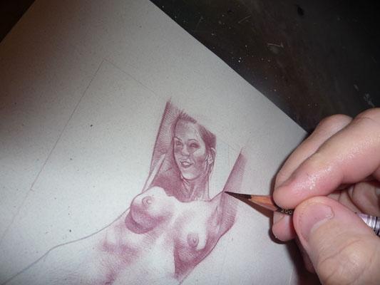 Nude drawing, original art by Jeff Lafferty