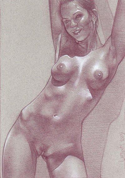 Nude Girl (Pencil study) original art by Jeff Lafferty