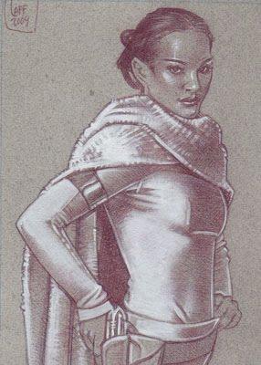 Padme Natalie Portman(Pencil study) ACEO Sketch Card by Jeff Lafferty