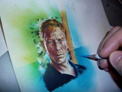 Daniel Craig as James Bond, original sketch card by Jeff Lafferty