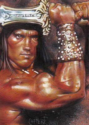 Arnold Schwarzenegger as Conan the barbarian, ACEO Sketch Card by Jeff Lafferty