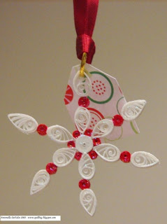 quilled quilling red snowflake ornament